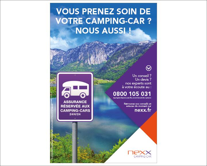 Affichette Nexx assurances, spécial camping car